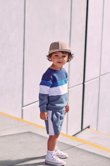 Jersey Colourblock Crew And Shorts Set (3mths-7yrs)