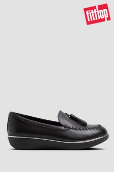 FitFlop™ Petrina Lizard-Embossed Leather Moccasin Loafers