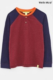 White Stuff Red Kids Colourblock Henry Henley T-Shirt