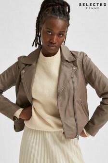 Selected Femme Brown Leather Katie Biker Jacket