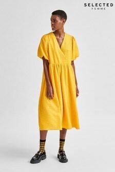 Selected Femme Citrus Yellow Textured Flissy Midi Dress