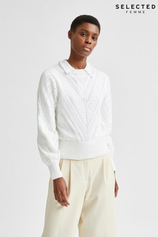 Selected Femme Organic Cotton White Julia Jumper