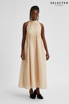 Selected Femme Nude Textured Dosky Dress