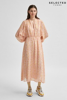 Selected Femme Pale Pink Floral Jeanie Midi Dress
