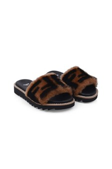 Fendi Kids Girls Brown Sheepskin FF Logo Sliders