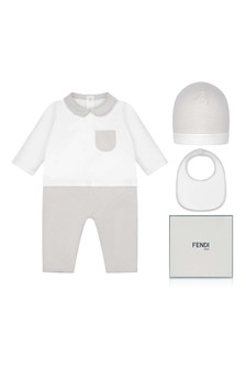 Baby White & Beige Romper Gift Set
