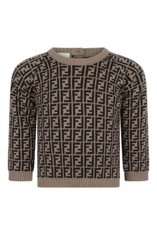 Baby Brown Cotton & Cashmere Logo Sweater