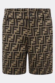Boys Brown FF Logo Shorts