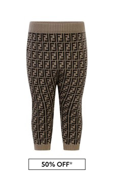 Fendi Kids Baby Brown FF Cashmere & Wool Trousers