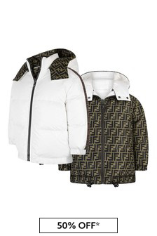 Kids White & Beige FF Reversible Bomber Jacket