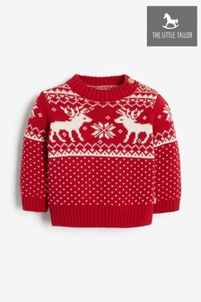 The Little Tailor Babies Red Reindeer Christmas Jumper