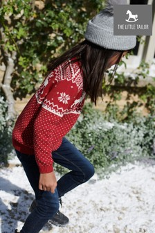 The Little Tailor Childrens Red Reindeer Christmas Jumper