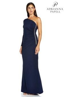 Adrianna Papell Blue One Shoulder Jersey Dress