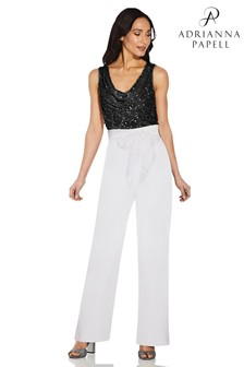 Adrianna Papell White Crepe Satin Bow Trousers