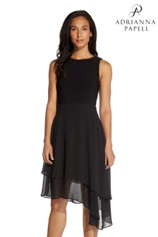 Adrianna Papell Black Jersey & Chiffon Fit And Flare Dress