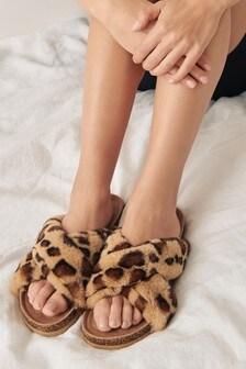 Crossover Cork Faux Fur Slider Slippers