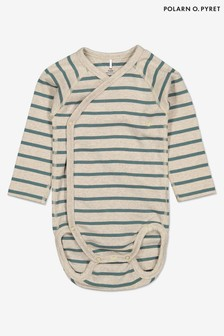 Polarn O. Pyret Green GOTS Organic Striped Wrap Bodysuit