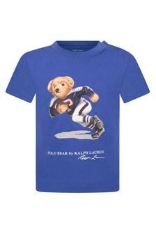 Baby Boys Blue Cotton Jersey Bear T-Shirt