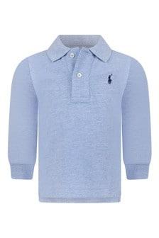 Baby Boys Blue Cotton Long Sleeve Polo Top