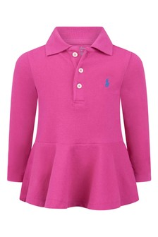 Baby Girls Pink Cotton Long Sleeve Polo Top