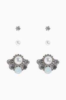 Pearl Effect Stud Earrings Three Pack