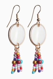 Mother of Pearl Beaded Drop Earrings