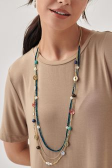 Eclectic Beaded Long Necklace