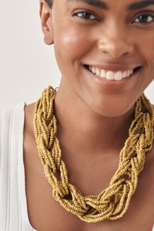 Beaded Plaited Necklace