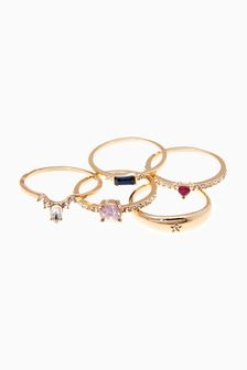 Coloured Stone Stacking Ring Pack
