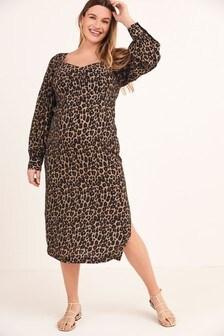 Maternity Sweetheart Neckline Midi Dress
