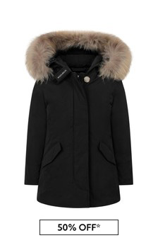 Kids Black Down Padded Luxury Arctic Parka Coat