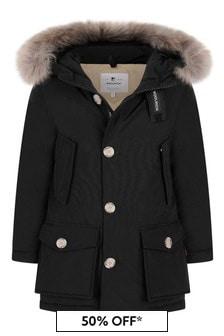 Boys Black Down Padded Arctic Parka Coat