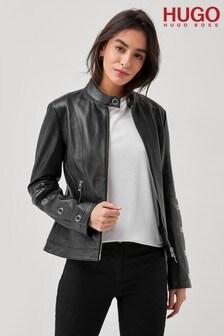 HUGO Black Lisaka Leather Jacket