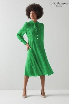 L.K.Bennett Green Mortimer Tie Neck Dress