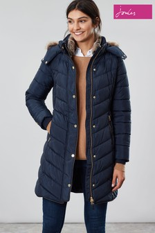 Joules Cherington Chevron Quilted Longline Padded Coat