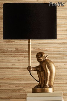 Antique Brass Monkey Table Lamp by Pacific