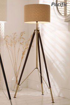 Tan Leather and Antique Brass Tripod Floor Lamp by Pacific