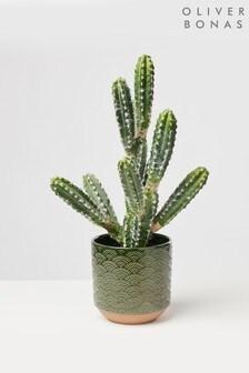 Oliver Bonas Modelo Geometric Ceramic Plant Pot