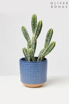 Oliver Bonas Large Modelo Geometric Ceramic Plant Pot