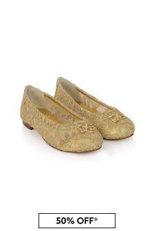 Dolce & Gabbana Kids Girls Lace Ballerina Shoes