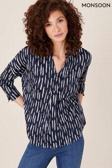 Monsoon Blue Printed Long Sleeve Linen Top