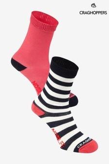 Craghoppers Pink Nlife Kids Travel Socks Twin Pack