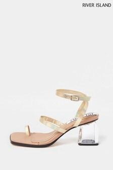 River Island Gold Perspex Heel Sandals