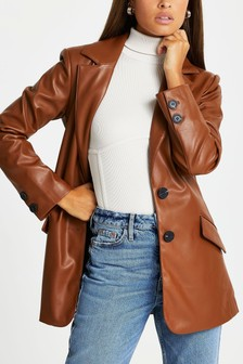 River Island Brown PU Belted Single Breasted Dad Blazer