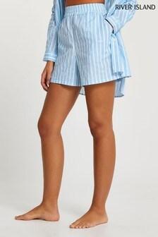 River Island Blue Loose Stripe Shorts