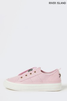 River Island Pink Pull-On Trainers