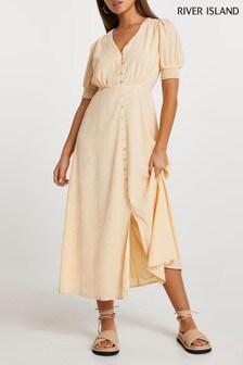 River Island Cream Button Down Midi Dress