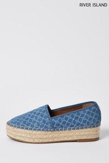 River Island Blue Printed Espadrille Slip-On Shoes