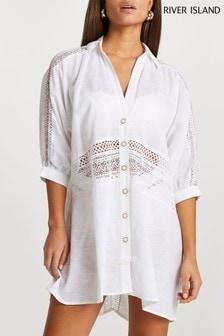 River Island White Oversized Lace Shirt Dress