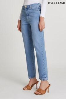 River Island Denim Bright Blair High Rise Straight Buzzy Jeans